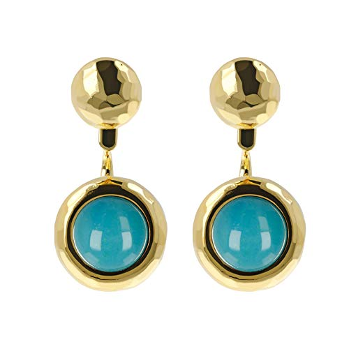 (Etrusca Gioielli Gold stud Earrings With Precious pearl Turquoise For Women Made In Italy)
