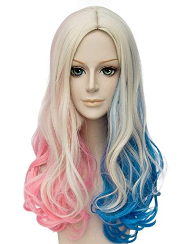 Qaccf Long Curly Mixed Color Middle Part Halloween Cosplay Women Wig -