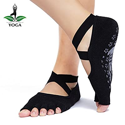 Yoga Socks Grip Non Slip for Women Toeless Sticky Anti-Skid Half Toe, Pilates, Ballet, Barre, Combed Cotton