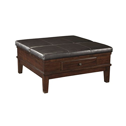 Leather Top Coffee Table - Ashley Furniture Signature Design - Gately Ottoman Coffee Table with Lift Top - Storage Compartments - Vintage Casual - Medium Brown