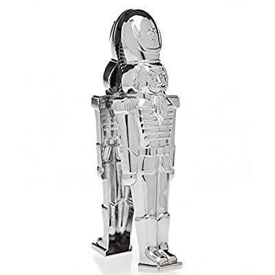 Godinger New And Exclusive Traditional Soldier Stainless Steel Christmas Nutcracker, Festive Holiday Décor- The only nutcracker figure that cracks nuts-Perfect gift item, comes in a beautiful gift box