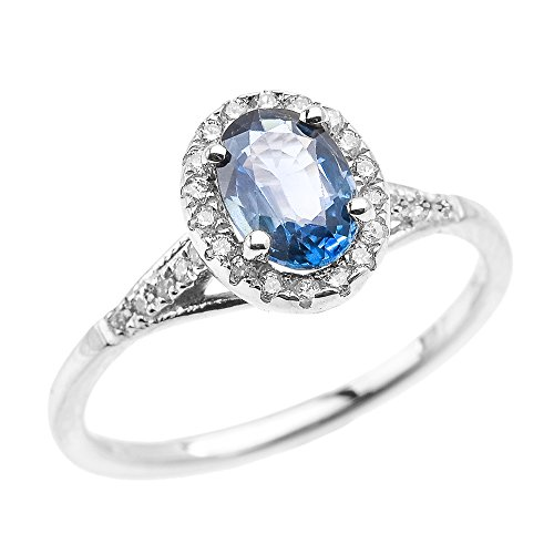 Dainty 14k White Gold Halo Diamond and Oval Kanchanaburi Sapphire Solitaire Engagement Proposal Ring (Size 6.25)