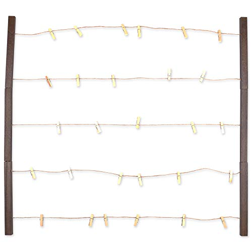 (DII Home Traditions Floating Photo Display DIY Photo Collage Set with Twine Clothesline, Natural Wood Wall Mounts, and 30 Wooden Clothespin Clips for Hanging Photos, Prints, and Art - Rustic Wood)