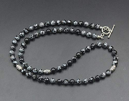Snowflake Obsidian Necklace, Men's Obsidian and Sterling Silver Beads Necklace, Men's Bead Necklace
