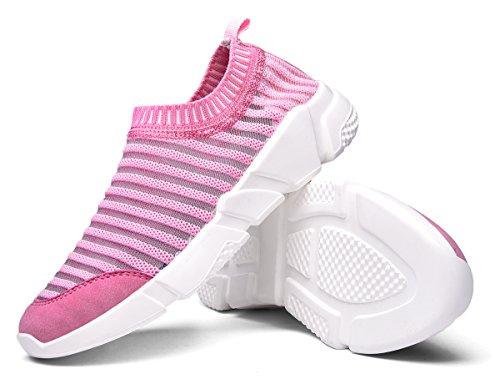 Waltzon Mens Och Kvinna Avslappnad Mesh Andas Slip-on Loafers Mode Sneakers Lätta Promenadskor Rosa