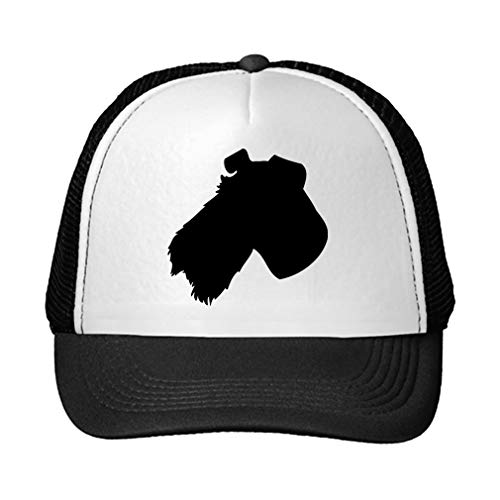 Trucker Hat Fox Terrier, Wire Silhouette Polyester Baseball Mesh Cap Snaps Black/Black One Size