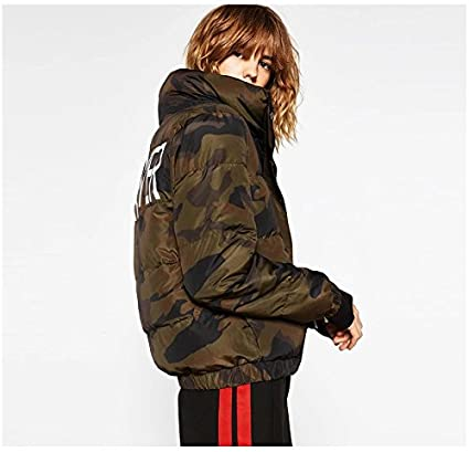Hikenn Damen Designer Winter Jacke Camouflage Army Parka