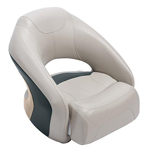 Wise Premier Series Pontoon Bucket Seat with Flip-Up Bolster, Platinum/Platinum Punch/Jade/Fawn