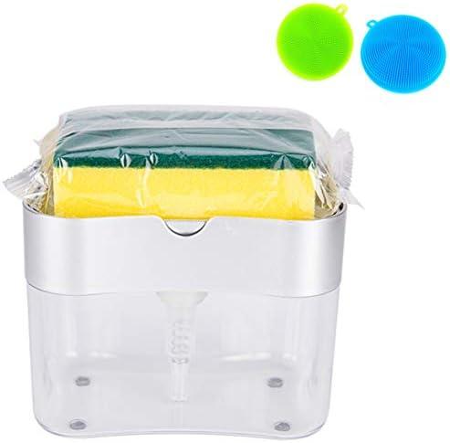 2 in 1 Dish Washing Liquid Dispenser Set: + [ 2 Silicone Sponge Scrubber Brush] Liquid Soap Dispenser with Sponge Caddy, Pump Washing Liquid Dispenser & Sponge Holder Dish Washing Get Much Easier