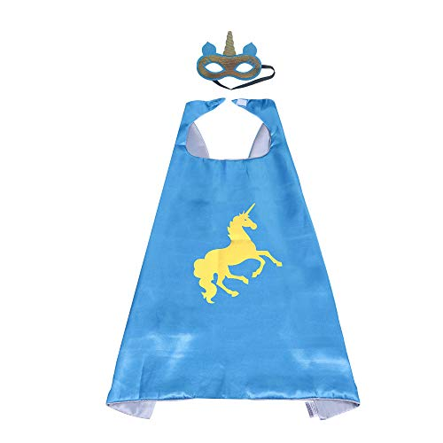 Halloween Unicorn Costumes for My Little Pony Dress Up Capes Mask Horse Costumes for Kids Girls Boys Birthday Party Favors, 2 Piece Set (Unicorn-Blue)