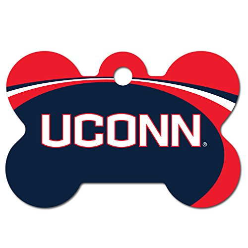 Personalized Laser Engraved 1.5 x 1 inch UCONN Huskies Bone Shape Pet ID Tag - Free Tag Silencer by dogIDS