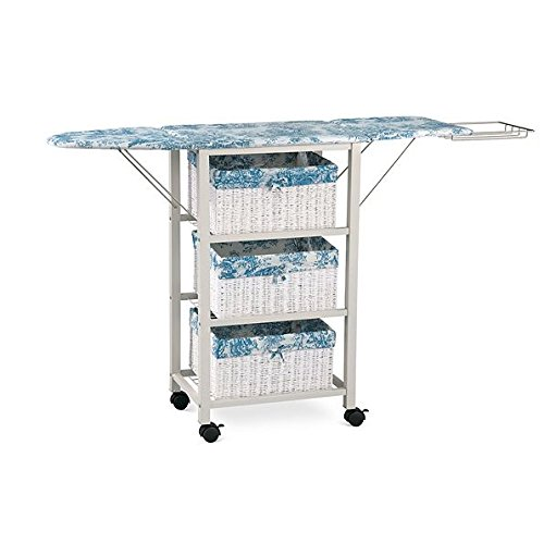 - Blue White Toile Pattern Ironing Board Center Iron Station Laundry With Storage Baskets