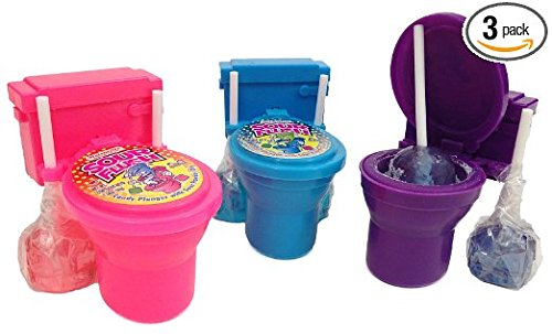 Sour Flush Candy - Toilet with Candy Plugers and Powder Dip 3 Pack