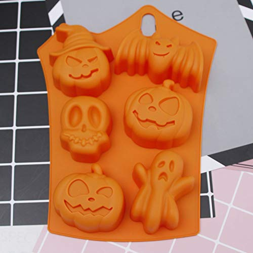 Halloween Holiday Style Silicone Cake Mold 6 Cavities Pumpkin Ghost Bat Shape Cookies Chocolate Molds DIY Cake Baking Tools