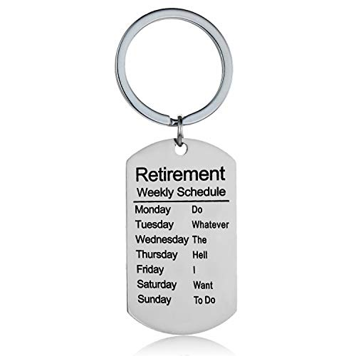 Funny Retirement Gifts Retired Schedule Calendar Keychain for Coworkers Office Family Creative Key Chain for Retired Men