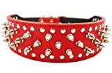17″-20″ Red Leather Spiked Studded Dog Collar 2″ Wide, 31 Spikes 52 Studs, My Pet Supplies