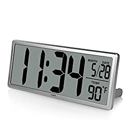 "iCKER 13.8"" Jumbo LCD Digital Alarm Clock Battery Operated, Large Wall Clock Displays Temperature and Calendar, Desk Clock with Snooze, Battery Backup, Button Cell Battery Included, Silver"