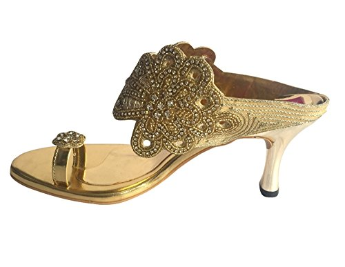golden Style n Embroided Toe Women Ring Slip Gold On Hand Step vTwxfqO5
