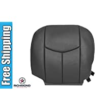 2003-2007 GMC Sierra 2500HD 2500 HD SLT SLE Driver Side Bottom Replacement Leather Seat Cover, Dark Gray