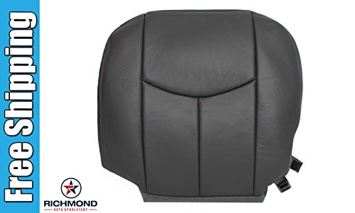 2003-2007 GMC Sierra 2500HD 2500 HD SLT SLE Driver Side Bottom Replacement Leather Seat Cover, Dark Gray ()