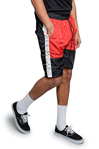 Victorious Men's Tri Colorblocked Side Striped Nylon Windbreaker Drawstring Track Shorts JS24 - Red - Large - A4C