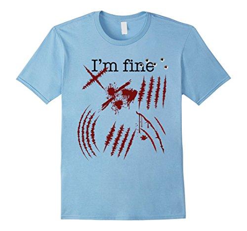 Girl Slash Costume (Mens Zombie T-Shirt Im fine Funny Zombie Halloween Costume Tee Medium Baby Blue)