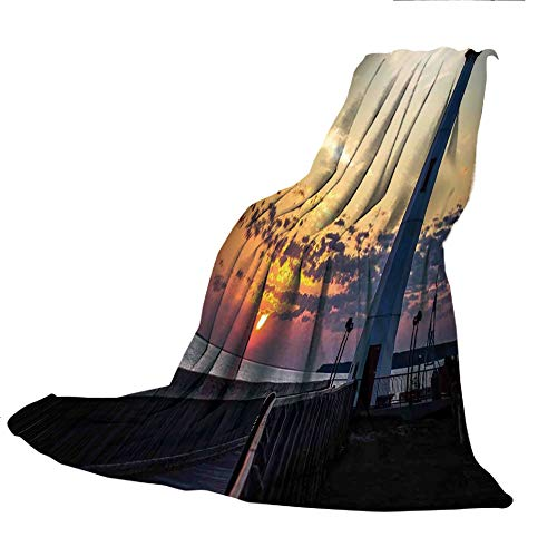 SCOCICI Customized Comfortable Blanket Sofa Bed or Bed 3D Printing,Lighthouse Decor,Michigan Sunrise Along The Shores of Beautiful St. Igance Michigan Nautical Journey,47.25