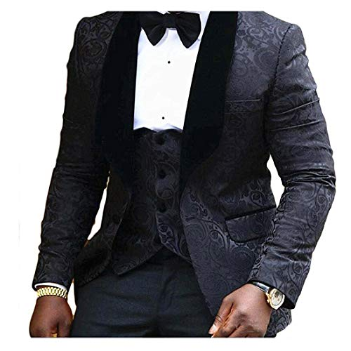 JYDress Mens Jacquard 3 Piece Suit Slim Fit Tuxedo Blazer Jacket Tux Vest & Trousers,44US/UK & 54EU-JACKET,38-PANTS,Black