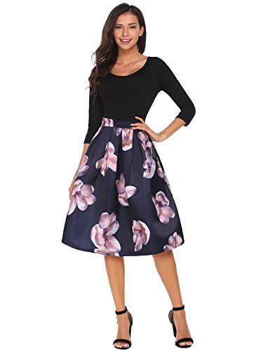 Zeagoo Women's Skirt Vintage A line Floral Print Pleated Flared Skirts Ultramarine Blue (Blue Floral Skirt)