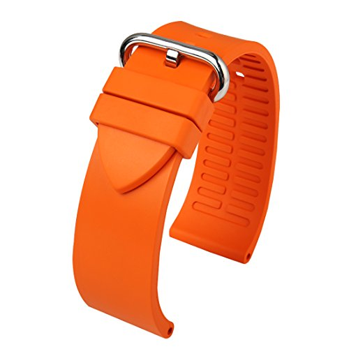 uoro Rubber Watch Strap 20mm 22mm 24mm with Stainless Steel Buckle Replacement Watchband for Sport Watch (Band Width 24mm, Orange+Silver Buckle) (Panerai Rubber Band)