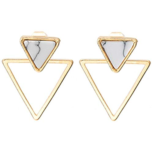 fengus Eardrop A Pair of Fresh and Simple Geometric Earrings Short Inverted Triangle Marble Earrings Stud Earrings Increase - Inverted Earrings Triangle