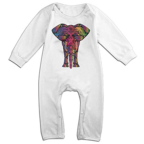 [Baby Infant Romper Colorful Pattern Elephant Long Sleeve Jumpsuit Costume White 6 M] (Elephant Ears Costume Pattern)
