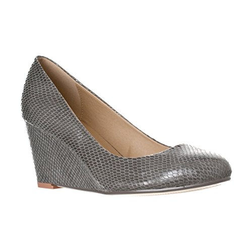 Riverberry Women's Leah Mid Heel Round Toe Wedge Pumps, Grey Snake, 9