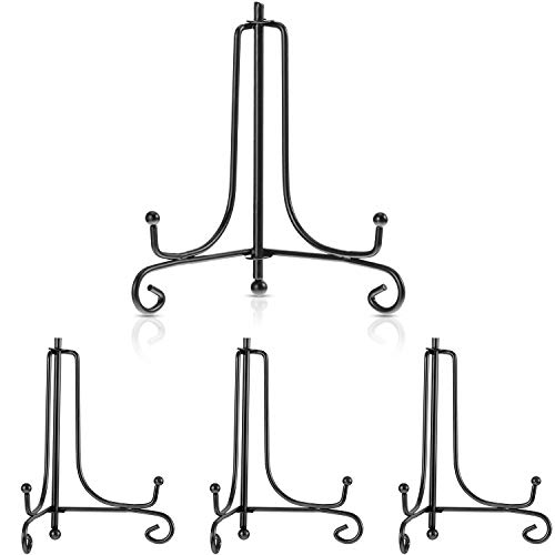 - Tatuo 4 Packs Iron Display Stand, Iron Easel Plate Display, Photo Holder Stand for Home Decoration (Black, 7 Inch)