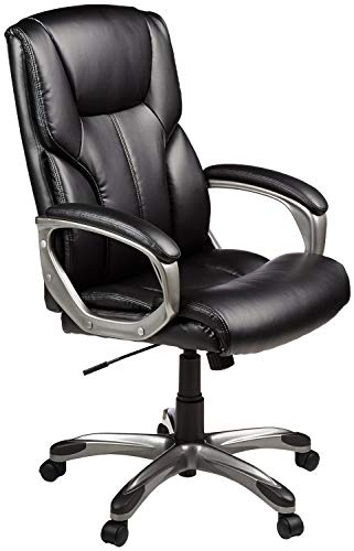 AmazonBasics High-Back Executive Swivel Chair - Black with Pewter...