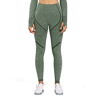 Aoxjox Women's High Waist Workout Sport Gym Arise Seamless Leggings Yoga Leggings Tights (Khaki Marl, X-Small)