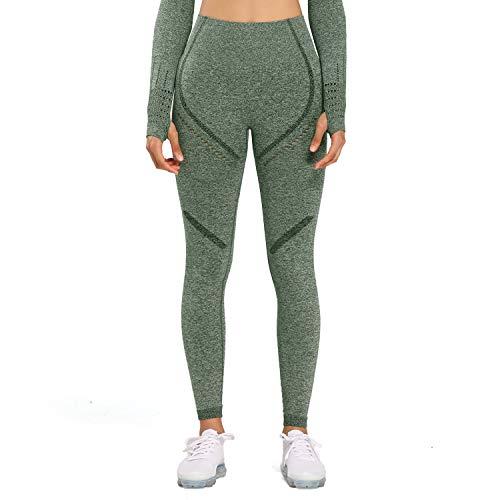 Aoxjox Women's High Waist Workout Sport Gym Arise Seamless Leggings Yoga Leggings (Khaki Marl, Small)