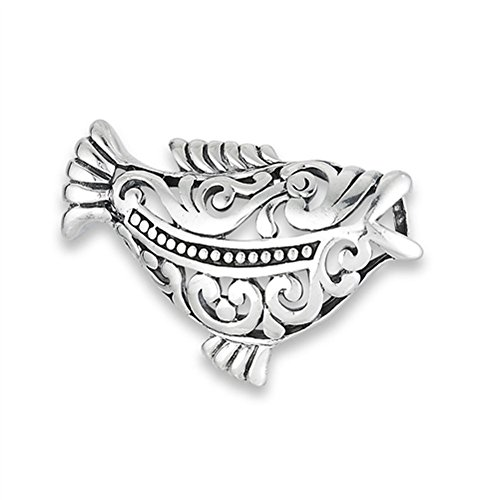 (Filigree Fish Pendant .925 Sterling Silver Native Ocean Tribal Animal Charm - Silver Jewelry Accessories Key Chain Bracelet Necklace Pendants)