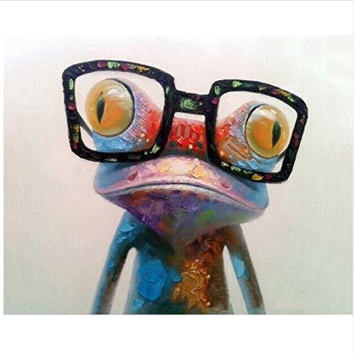 CZYYOU DIY Digital Malen Nach Zahlen Brille Frosch Ölgemälde Wandbild Kits Färbung Wandkunst Bild Geschenk 40x50cm-Ohne Rahmen B07PH1G4B4 | Outlet Store