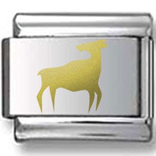 Bull Silhouette Gold Laser Italian Charm