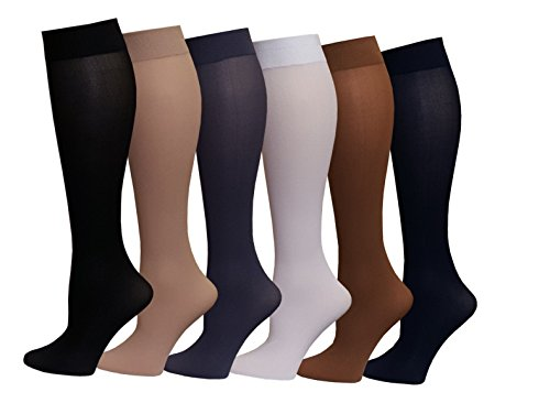 Differenttouch 6 Pairs Pack Women Opaque Stretchy Spandex Knee High Trouser Socks (6 PK Mixed New, 9-11)