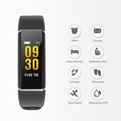 Pulsera de Actividad Inteligente, Ausun FT901 Pulsera Actividad Reloj Inteligente Mujer Hombre con Monitor de Sueño, Podómetros, Cronómetros,Notificación de ...
