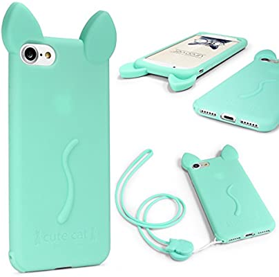 Urcover® Funda iPhone 7 Plus Funda Orejas de Gato para Mujer/Niña Carcasa Silicona Flexible Gato Kitty Cat Apple iPhone 7 Plus + Cuerda para Colgar ...