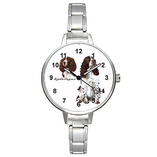 (Timest - English Springer Spaniel - Womens Stainless Steel Italian Charms Bracelet Watch BM0340)