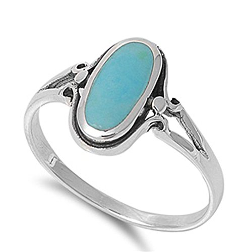 Sterling Silver Women's Simulated Turquoise Ring Simple Cute 925 Band New 13mm Size 9 Sterling Silver Turquoise