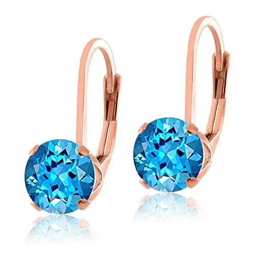 Campton Rose Gold Over Sterling Silver .925 Genuine Natural Gemstone Lever Back Earrings | Model ERRNGS - 14010 |
