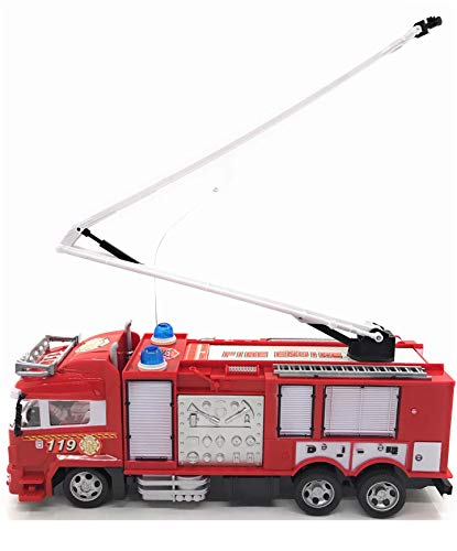 RC Fire Truck Rescue Engine Radio Remote Control w// Music and Flashing Lights Rechargeable Battery