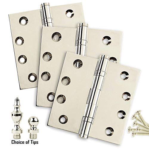 US14 Ball//Urn//Button Tips Included Architectural Grade 2 Stainless Steel Pin Door Hinges 3.5 x 3.5 Extruded Solid Brass Ball Bearing Hinge Heavy Duty Polished Nickel