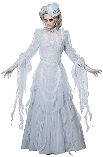 Halloween White Ghost Costume (California Costumes Women's Haunting Lady Costume, white/gray,)