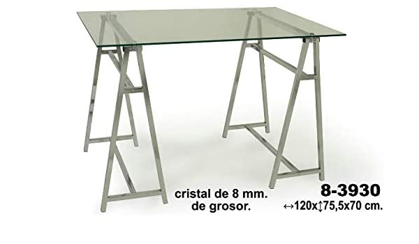 Muebles Olivares Mesa Cristal Patas cromadas: Amazon.es: Hogar